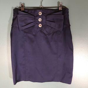 Karen Millen navy pencil skirt bow buttons lined 6